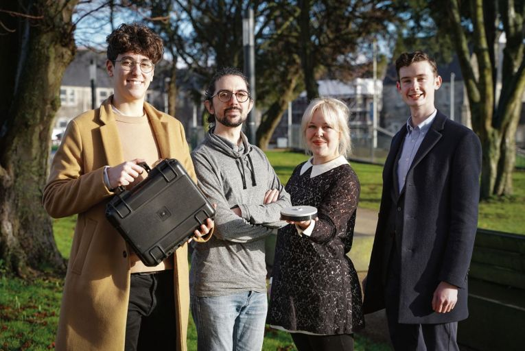 Micron Agritech was set up by Daniel Izquierdo, Jose Lopez, Tara McElligott and Sean Smith in 2019 when they were students at Technological University Dublin. Picture: Conor Mulhern