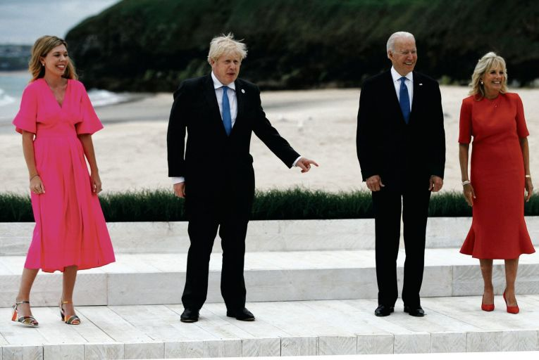 Carrie Symonds and Boris Johnson are pictured with Joe and Jill Biden: the US president and British prime minister met at Carbis Bay in Cornwall before the G7 meeting. Picture: Getty