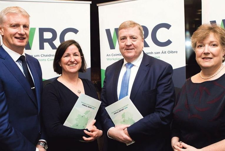 Dr Paul Duffy, chairman of the WRC Board; Oonagh Buckley, director general of the WRC; Pat Breen, Minister of State for Employment and Small Business, and Dr Orlaigh Quinn, secretary general of the Department of Jobs, Enterprise & Innovation