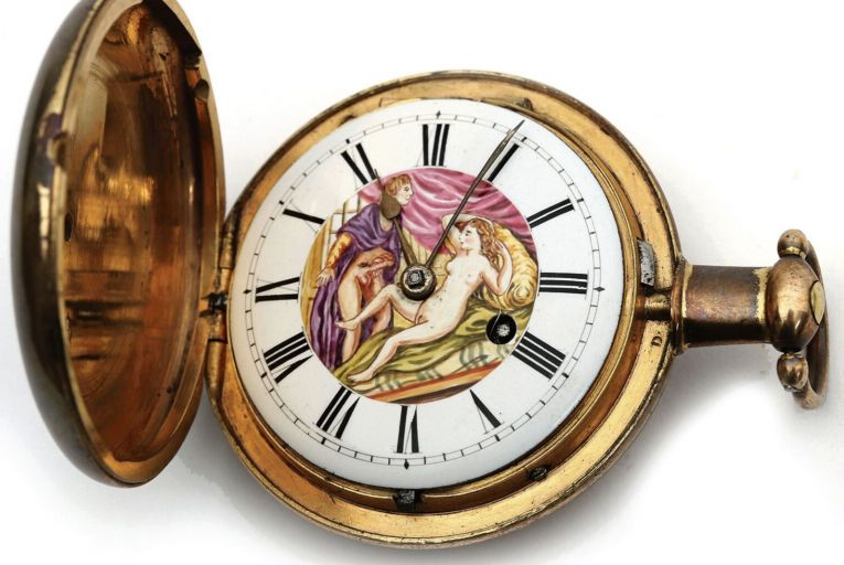 An erotically illustrated 19th-century pocket-watch