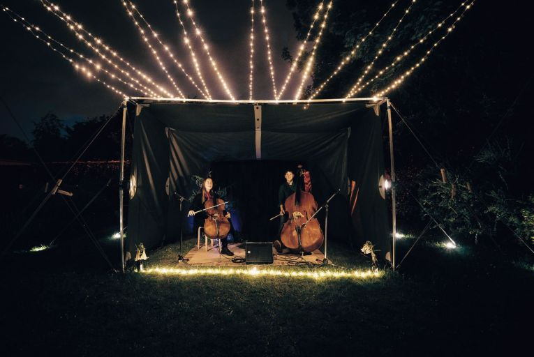 """Kate Ellis and Caimin Gilmore are currently touring Ireland with what they call """"Crash in a Box"""", a purpose-built outdoor mini-venue. Picture: Adrian O\'Connell"""