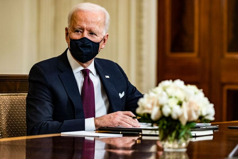Joe Biden could see many of his policy plans scuppered by the Senate filibuster, which requires a 60-40 majority on the floor before laws can be made Picture: Getty