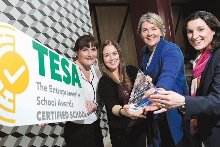 Teachers Sharon Connolly and Aisling Collins, from Gort Community School, the overall winners of the TESA School of the Year – Microsoft Award, with Helen Raftery, chief executive JAI, and Joanne Morrissey, HR Director at Microsoft Ireland, at the summit