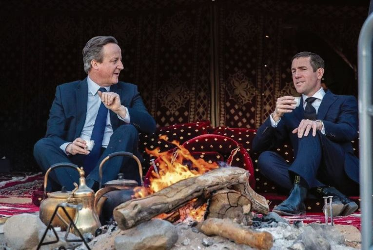David Cameron, the former British prime minister, and Lex Greensill, founder of Greensill Capital, in Saudi Arabia in January 2020: the photo did the rounds on Twitter last week, highlighted their cosy relationship