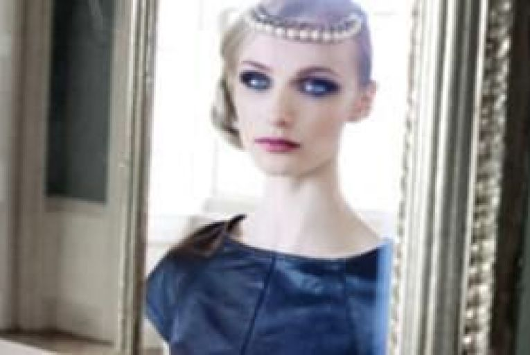 Leather top, Alice and Olivia at Harvey Nichols €520; pearl necklace worn as headpiece, Coast €36.