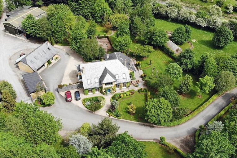 An overhead view of the Corbally Banks house and gardens: the property sits on 24 acres