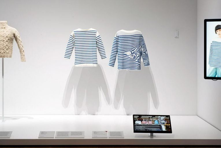 An Aran sweater on display at the MoMA exhibition, Is Fashion Modern?