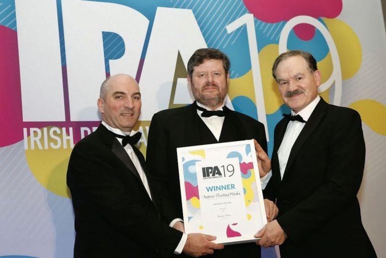 Fintan O'Callaghan Impress Printing Works, Ger Barron Managing Director Réaltand Pat Cotter Impress Printing Works