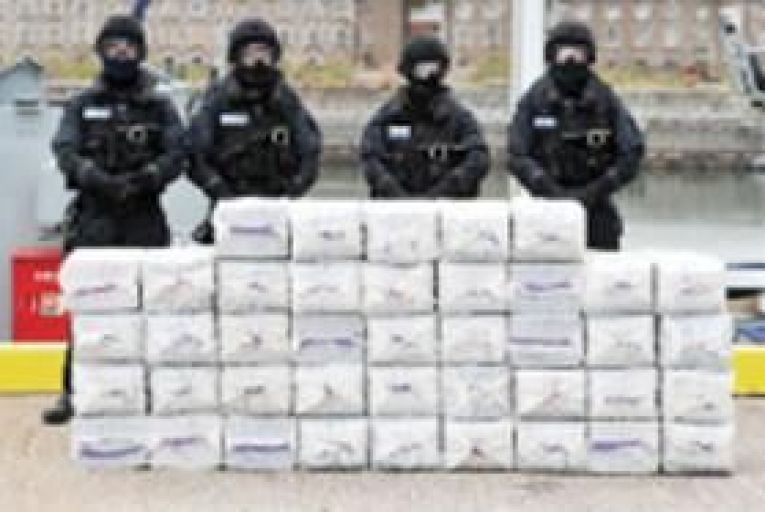 Naval Service personnel with the cocaine haul at Haulbowline Naval Base in Cork earlier this week. Picturte: Provision