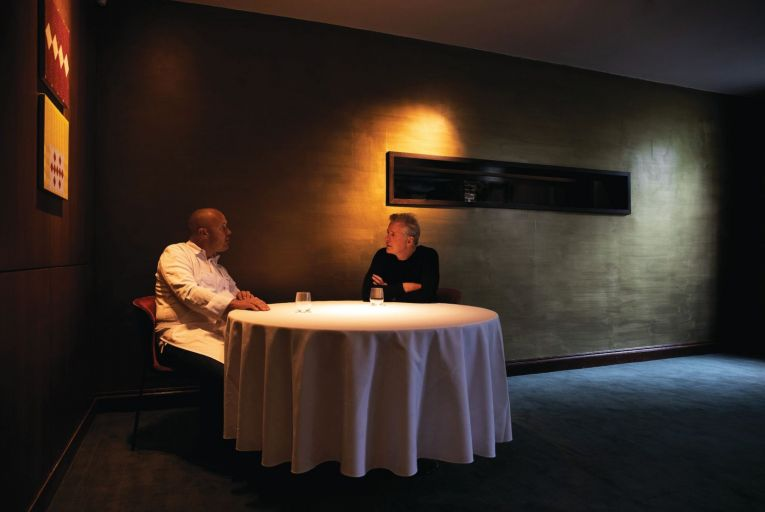 Mickael Viljanen, the new head chef at Chapter One, and Ross Lewis, the restaurant's owner who is stepping aside from kitchen duties. Picture: Barry McCall
