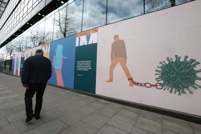 Murals outside the Science Gallery in Dublin: the Irish can no longer claim to be the happiest people on the planet Picture: RollingNews
