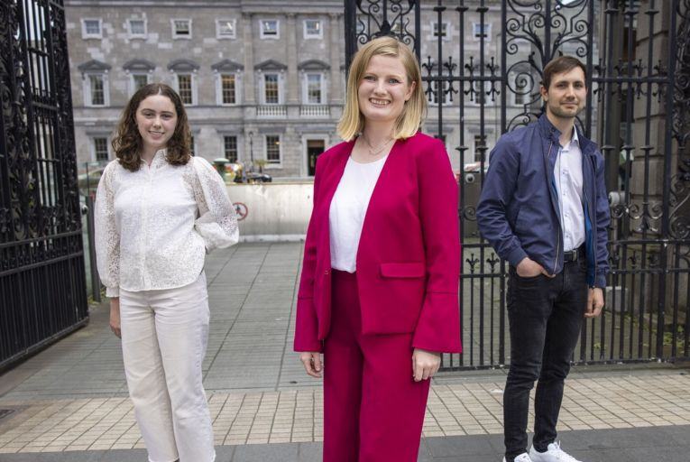 Caroline Costello, Lorna Bogue and Bobby Tsvetkov, founders of An Rabharta Glas, a new party that aims to 'democratise and decarbonise' Irish politics. Picture: Fergal Phillips