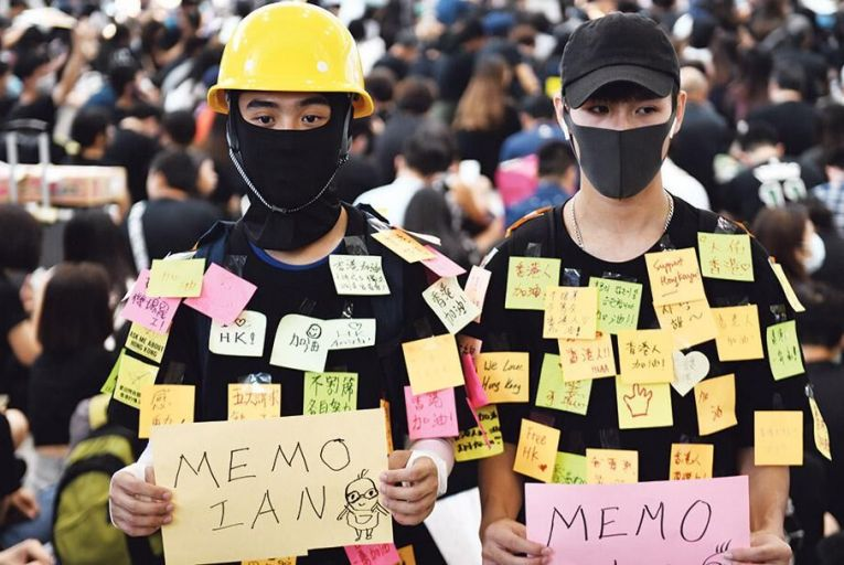 Protesters rally in Hong Kong airport