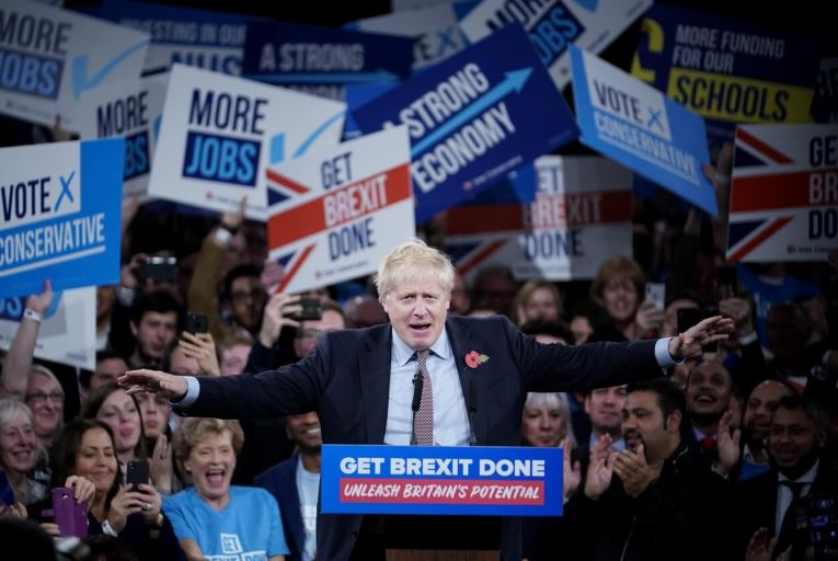 Borish Johnson cracked jokes at an American-style presidential rally in Birmingham. Picture: Christopher Furlong/Getty Images