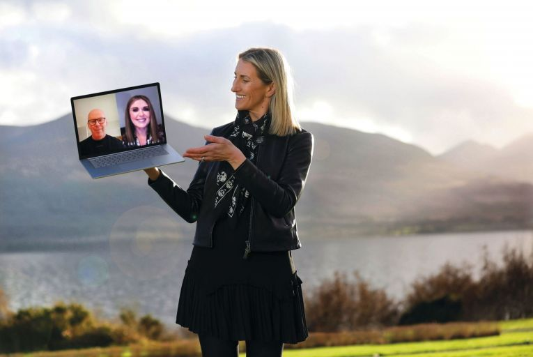 Geraldine Casey, Chief People Officer at AIB at a virtual meeting with Graham Fagan, Group Director of Technology & Operations at AIB Group and Bríd Graham, Managing Director of Arkphire\'s IT Procurement Services business. Pic Julian Behal Photography