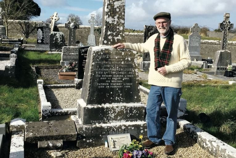 Jim Nailon at his father's grave in Kilconly, Co Galway