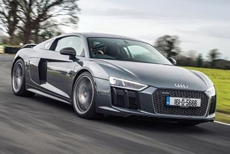 The new Audi R8 finds traction and maintains indecent pace even in wet and windy conditions