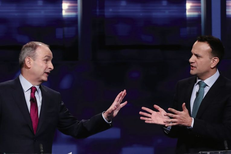 Micheál Martin spars with Leo Varadkar during the final TV leaders' debate of the election. But they may have to play nice from now on