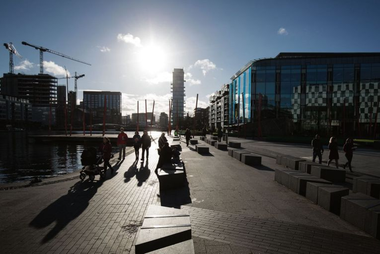 Grand Canal Square in the Dublin Docklands, home to many of the city's priciest offices which could soon find themselves redundant. Picture: Christian Charisius