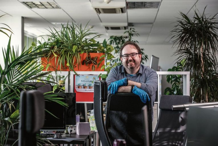 DC Cahalane, chief executive Republic of Work, pictured in the process of reworking the shared work space for the post-Covid work environment. Picture: Clare Keogh