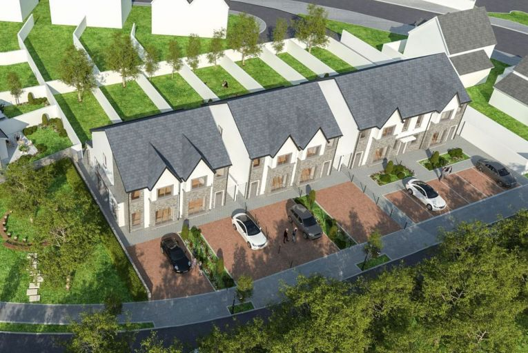 A computer-generated image of nine houses designed for a site at Cornelscourt in Newbridge, Co Kildare