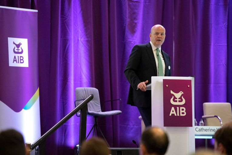 Colin Hunt, chief executive of AIB, said the bank remained 'alert' to the economic uncertainties created by Covid-19. Picture: Maura Hickey