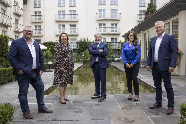 From left: Colm O'Reilly, president and chief operations officer, Business Post Group; Sinéad Mooney, managing director, Red C Research; Enda O'Coineen, publisher and group chief executive, Business Post Group; Sarah Murphy, chief executive, iQuest/Business Post Experiences; and Richard Colwell, chief executive, Red C Research.Picture: Fergal Phillips