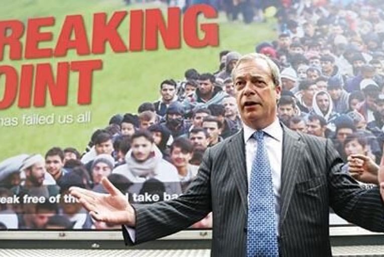 UK Independence Party Leader Nigel Farage addresses the media in London last Thursday during the launch of a national poster campaign urging voters to vote to leave the EU ahead of the In/Out referendum PIc: Getty