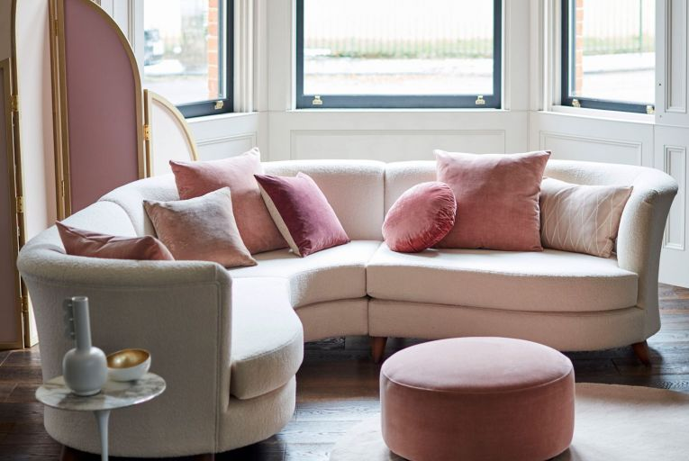 The Ivy sofa in textured blush combination from DFS is on trend