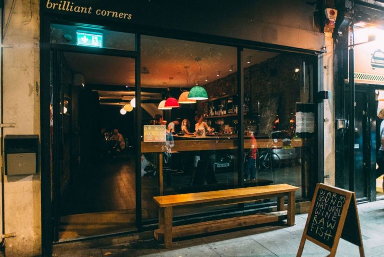Brilliant Corners on Kingsland Road in London serves up natural wine along with vegan, vegetarian, organic food and music on vinyl records