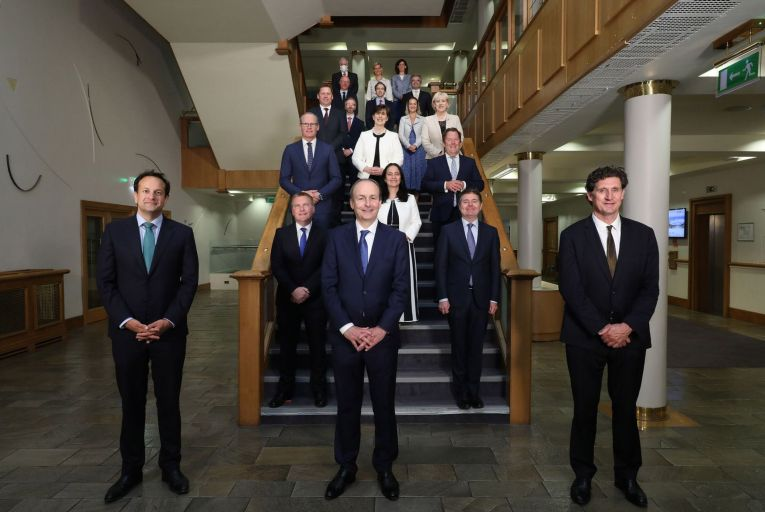 The newly elected cabinet of the 33rd Dail after their first meeting in Dublin Castle in June last year. Picture: Julian Behal
