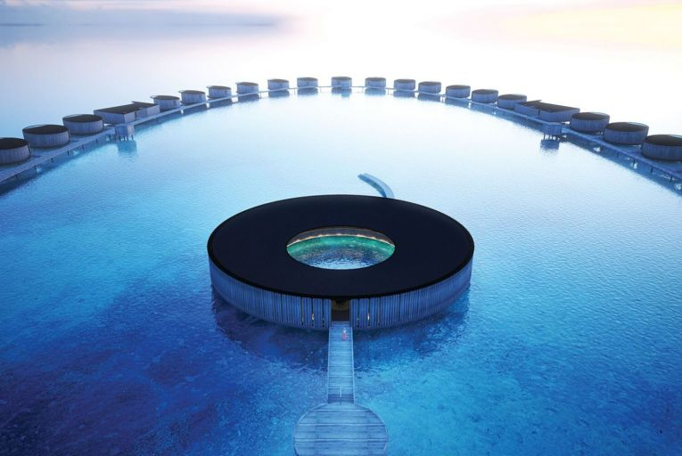 The Ritz-Carlton Maldives' spa is a circular over-water oasis with nine treatment rooms