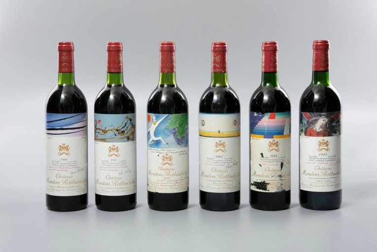 A collection of Château Mouton Rothschild comprising a single bottle for every year from 1945 to 2005