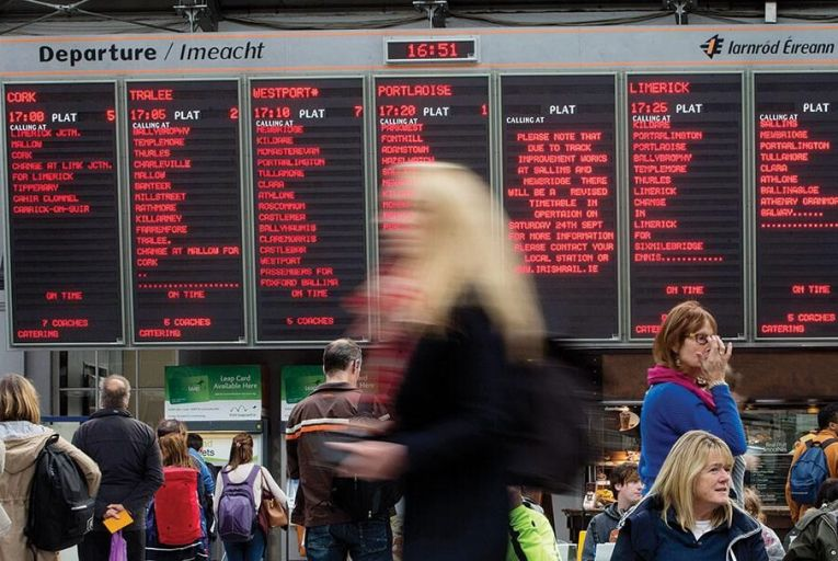 Commuters checking  departure times at  Heuston Station in Dublin Picture: Fergal Phillips