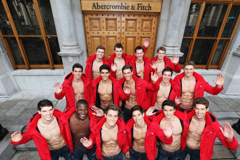 Abercrombie & Fitch staff at the launch of its store on College Green in Dublin in 2012.  Photo: Leon Farrell/Photocall Ireland.