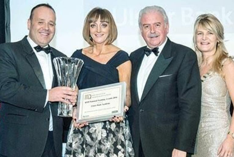 Pictured at the IITD Awards in Killashee House, February 26, 2016, were, from left, from Ulster Bank, Winners of the Award for Best Learning and Development Organisation, Kevin Keegan, UB; Joyce Walsh, UB; Marty Whelan, MC and Nicola O'Neill, IITD President