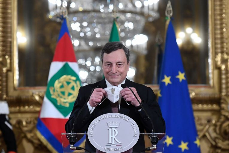 Mario Draghi, the former president of the European Central Bank, was sworn in as Italy's prime minster on February 13. Photo: Getty