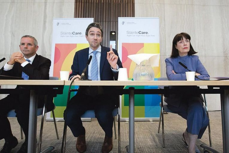 Paul Reid of the HSE, Simon Harris, Minister for Health, and Laura Magahy of Sláintecare earlier this month announcing the establishment of six regional health regions Pic: Rollingnews