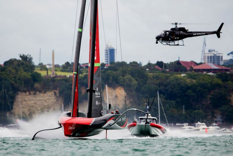 Emirates Team New Zealand competes against the Luna Rossa Prada Pirelli team during the America\'s Cup Race 9 in Auckland Harbour last March. Picture: Getty