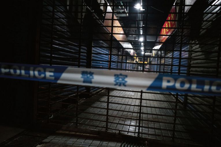 The closed Huanan Seafood Wholesale Market, in the city of Wuhan, where one of the first outbreaks of Covid-19 was identified. Photo: Getty