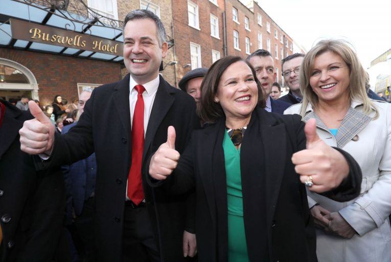 Pearse Doherty, Mary Lou McDonald and Rose Conway Walsh of Sinn Féin: 'The party will eventually have to face the reality of its record in opposition.' Picture: Brian Lawless/PA