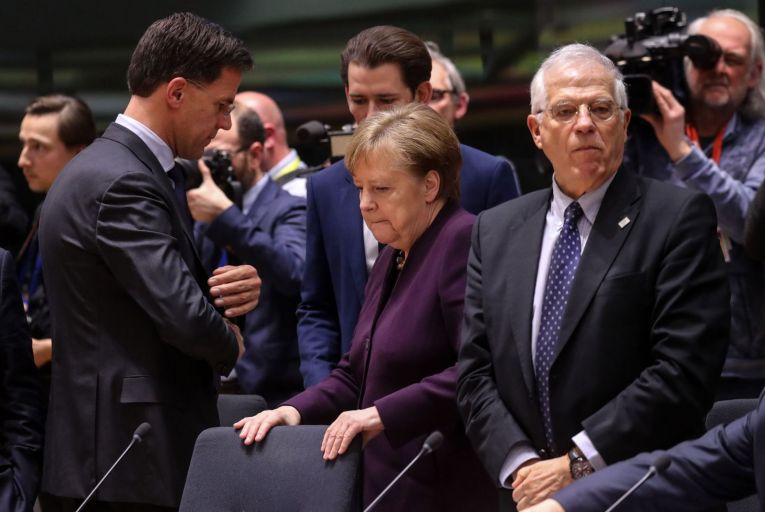 Angela Merkel, the German chancellor with Mark Rutte (left), the Dutch prime minister and Josep Borrell (right), the EU's High Representative for Foreign Affairs and Security Policy at a European Council summit in Brussels. Picture:  Getty Images