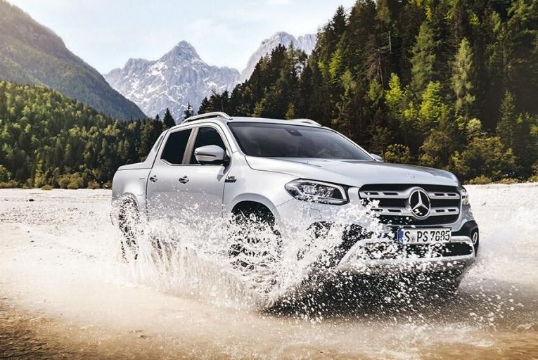 The latest X-Class combines  the utility of a standard  pickup with the luxury we  expect from Mercedes