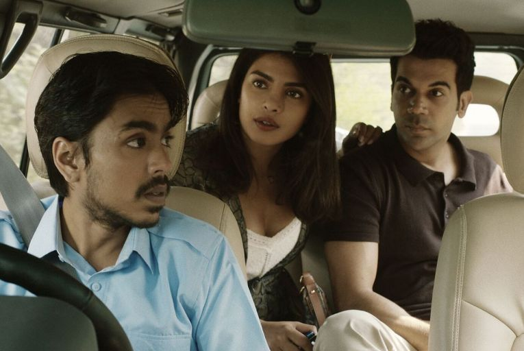 Adarsh Gourav, Priyanka Chopra Jonas and Rajkummar Rao in The White Tiger