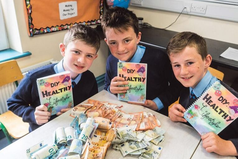 Gerry Mangan, Darragh Burke and Mark McCarthy from Faha National School, Killarney, Co Kerry, whose class produced the DIY Healthy Lifestyle cookbook: it achieved a net profit of €1,388