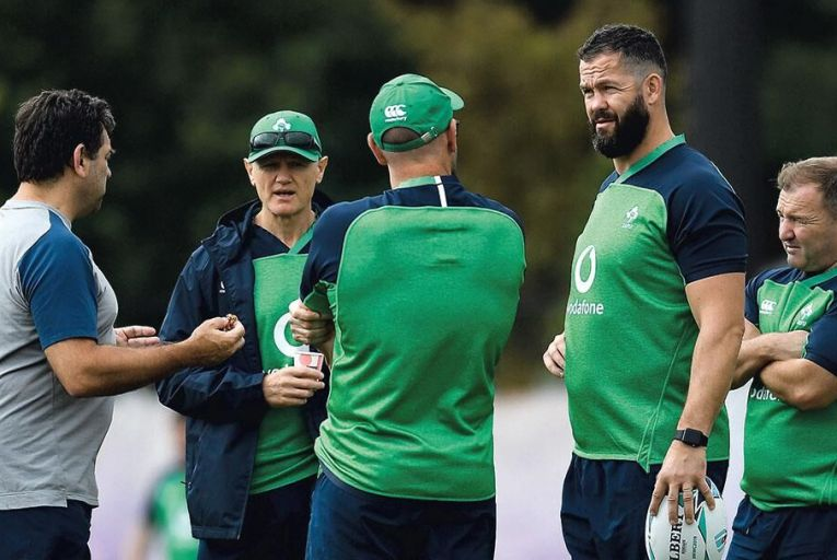 Joe Schmidt (second left) with his brains trust of David Nucifora, Greg Feek, Andy Farrell and Richie Murphy: once again, a place in the last four was beyond Ireland's capabilities Brendan Moran/Sportsfile