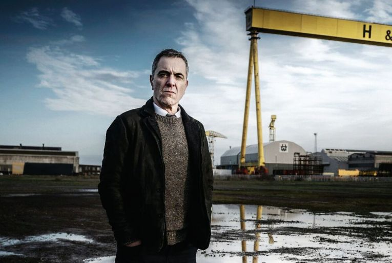 James Nesbitt is almost permanently clench-faced in the grim Bloodlands on BBC One