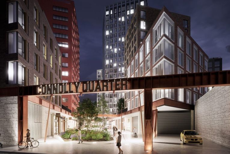 Plans for Ballymore's Connolly Quarter development which will eventually including housing for 5,000 people as well as shops, restaurants, offices and a hotel