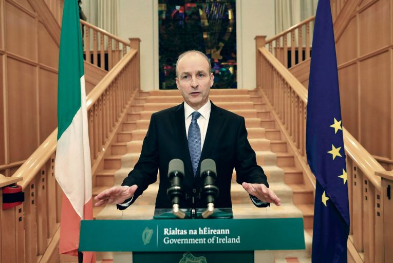Taoiseach Micheál Martin announcing a move to level-5 restrictions last month