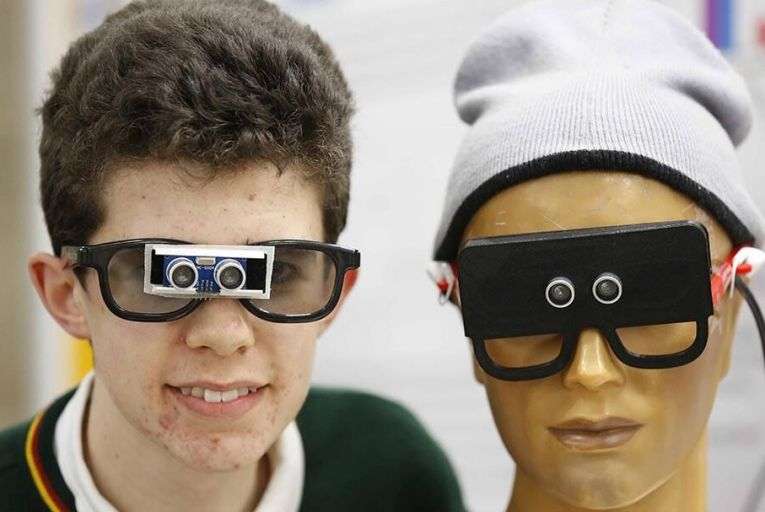 Timothy McGrath from Killorglin Community College, Co Kerry, and his project Ultra Vision Pic: RollingNews.ie
